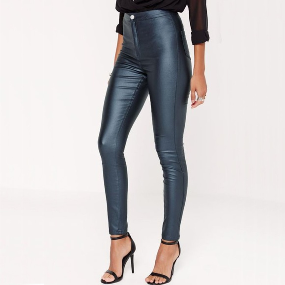 fa41e0f6393c Missguided Vice High Waisted Coated Skinny Jeans